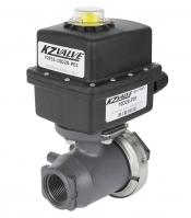 KZ Valve QX 3/4in Polypropylene 2 Way Motorized Ball Valve 2.5 Second Regulating Actuator